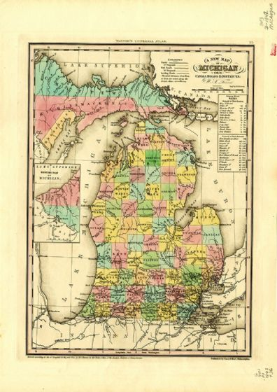 Map Of Michigan, USA 1844. Print/Poster (4881)